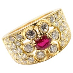 Van Cleef & Arpels Diamond Ruby Flower Yellow Gold Band Ring