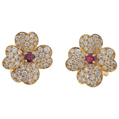 Van Cleef & Arpels Diamond Ruby Gold Flower Earrings