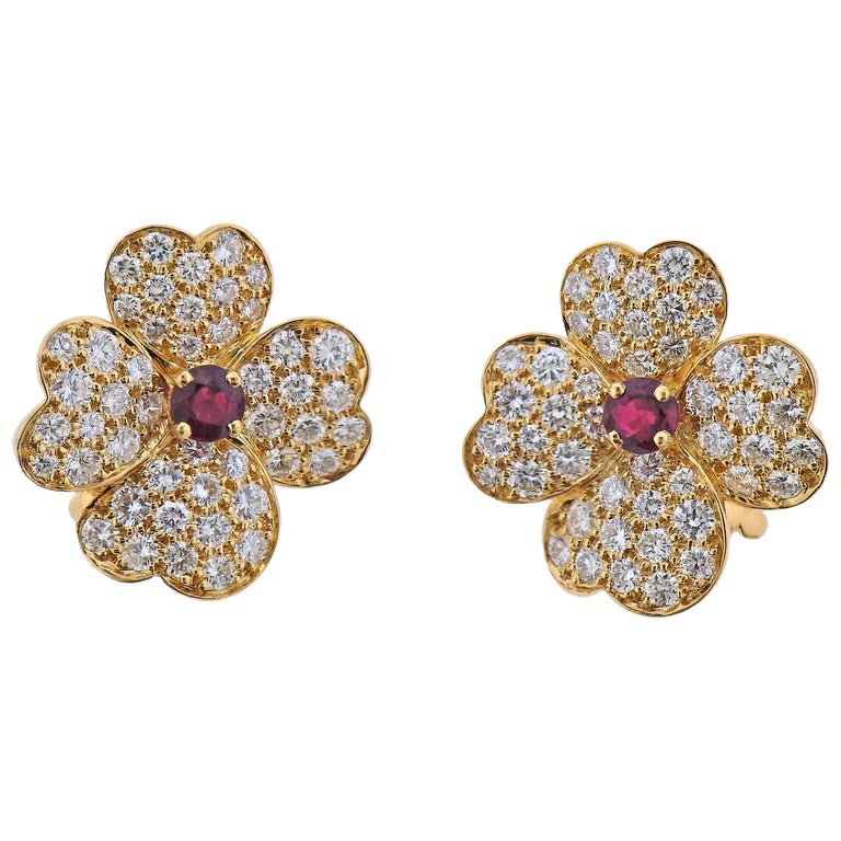 Van Cleef & Arpels Diamond Ruby Gold Flower Earrings For Sale