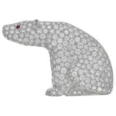 Van Cleef & Arpels Diamond Ruby Polar Bear Platinum Brooch