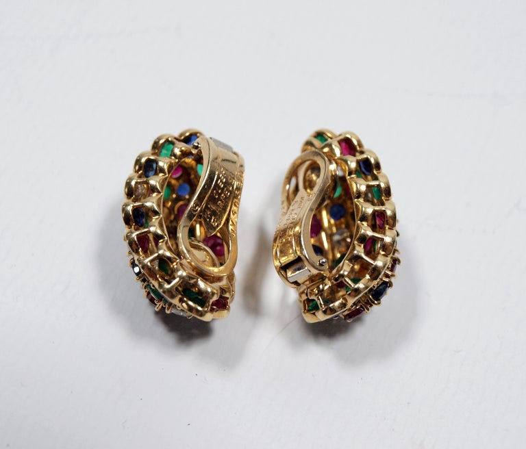 Van Cleef & Arpels Yellow Gold Diamond Ruby Sapphire and Emerald Earclips For Sale 5