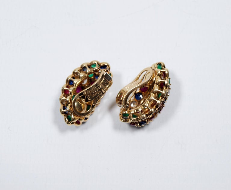 Van Cleef & Arpels Yellow Gold Diamond Ruby Sapphire and Emerald Earclips For Sale 6