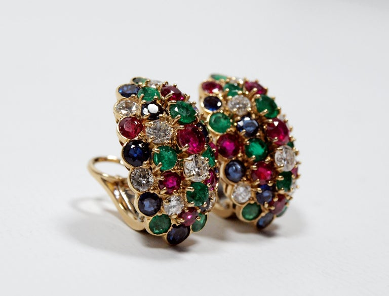 Modern Van Cleef & Arpels Yellow Gold Diamond Ruby Sapphire and Emerald Earclips For Sale