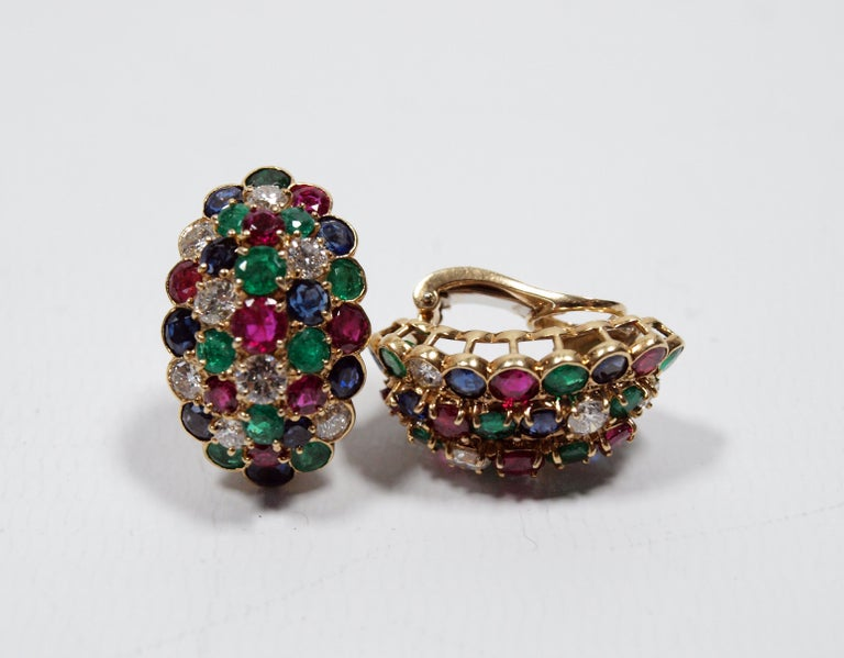 Van Cleef & Arpels Yellow Gold Diamond Ruby Sapphire and Emerald Earclips For Sale 1