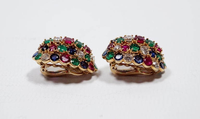 Van Cleef & Arpels Yellow Gold Diamond Ruby Sapphire and Emerald Earclips For Sale 2