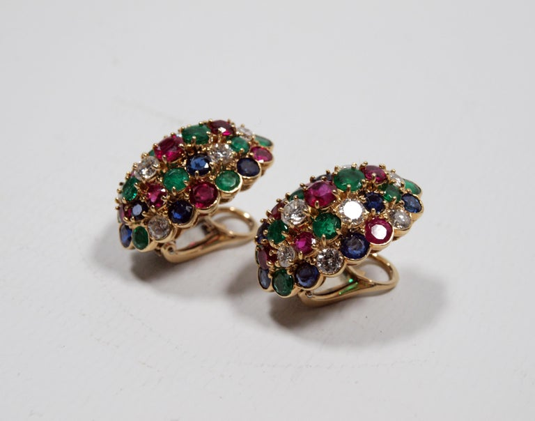 Van Cleef & Arpels Yellow Gold Diamond Ruby Sapphire and Emerald Earclips For Sale 3