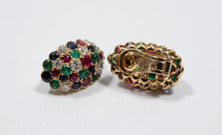 Van Cleef & Arpels Yellow Gold Diamond Ruby Sapphire and Emerald Earclips For Sale 4