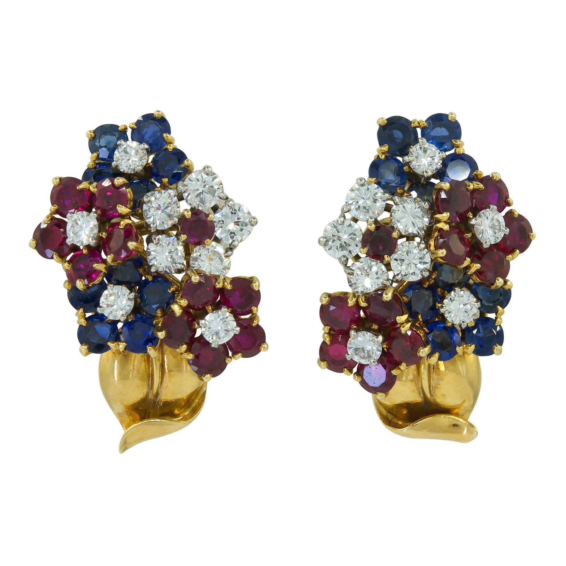 Van Cleef & Arpels Diamond, Ruby, Sapphire Bouquet Flowers Earrings
