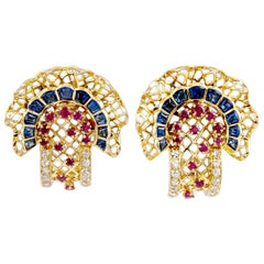 Van Cleef & Arpels Diamond, Ruby & Sapphire Earrings