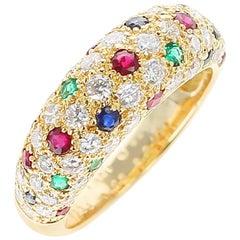 Van Cleef & Arpels Diamond, Ruby, Sapphire, Emerald Ring, 18 Karat Yellow Gold