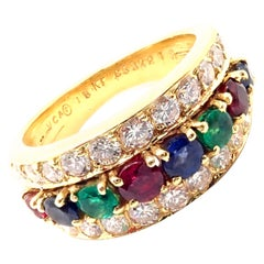 Van Cleef & Arpels Diamond Ruby Sapphire Emerald Yellow Gold Band Ring