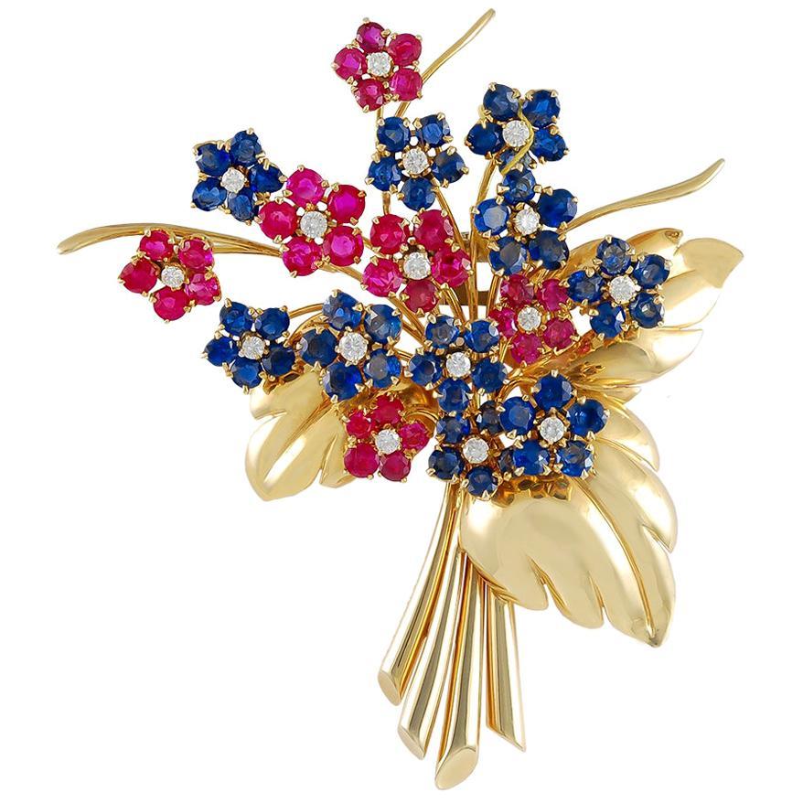 Van Cleef & Arpels Diamond, Ruby, Sapphire Flower Brooch