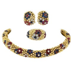 Van Cleef & Arpels Diamond, Ruby, Sapphire Necklace Suite
