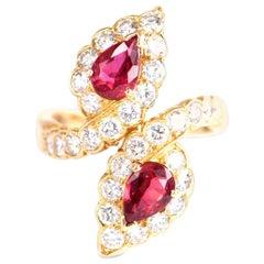 Van Cleef & Arpels Diamond Ruby Yellow Gold Engagement Ring