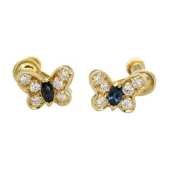 Van Cleef & Arpels Diamond Sapphire and 18 Karat Gold Butterfly Earrings