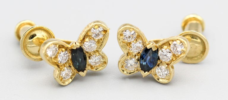 Van Cleef & Arpels Diamond Sapphire and 18 Karat Gold Butterfly Earrings In Good Condition For Sale In New York, NY