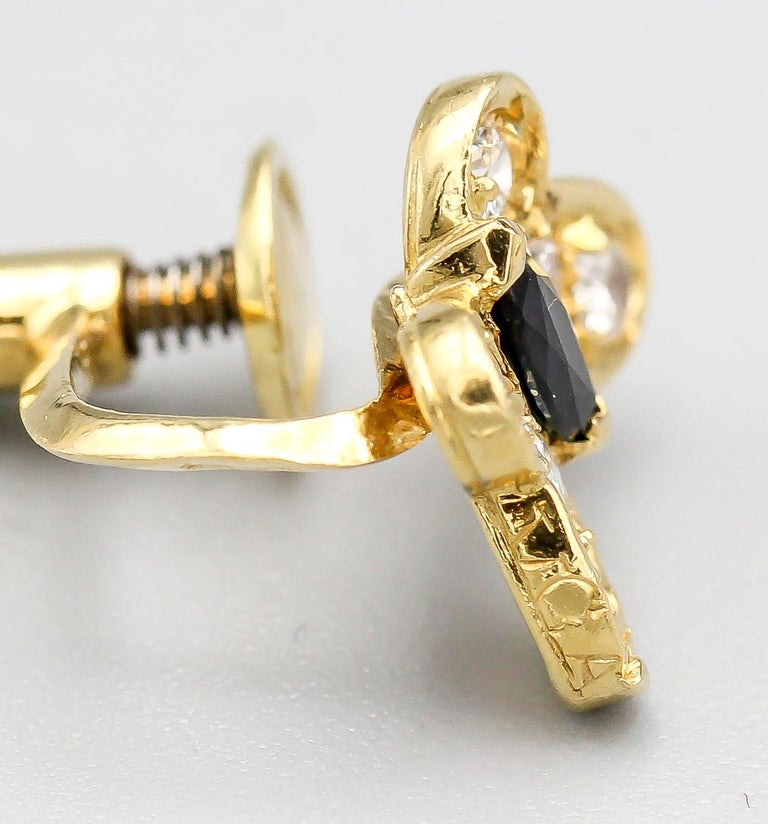 Women's Van Cleef & Arpels Diamond Sapphire and 18 Karat Gold Butterfly Earrings For Sale