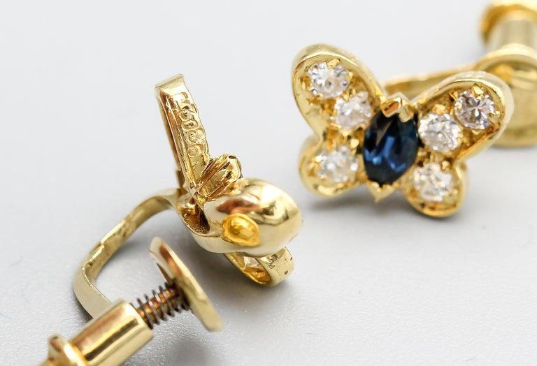 Van Cleef & Arpels Diamond Sapphire and 18 Karat Gold Butterfly Earrings For Sale 1