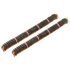 Van Cleef & Arpels Sapphire Yellow Gold Pelouse Bombe Bracelet Pair