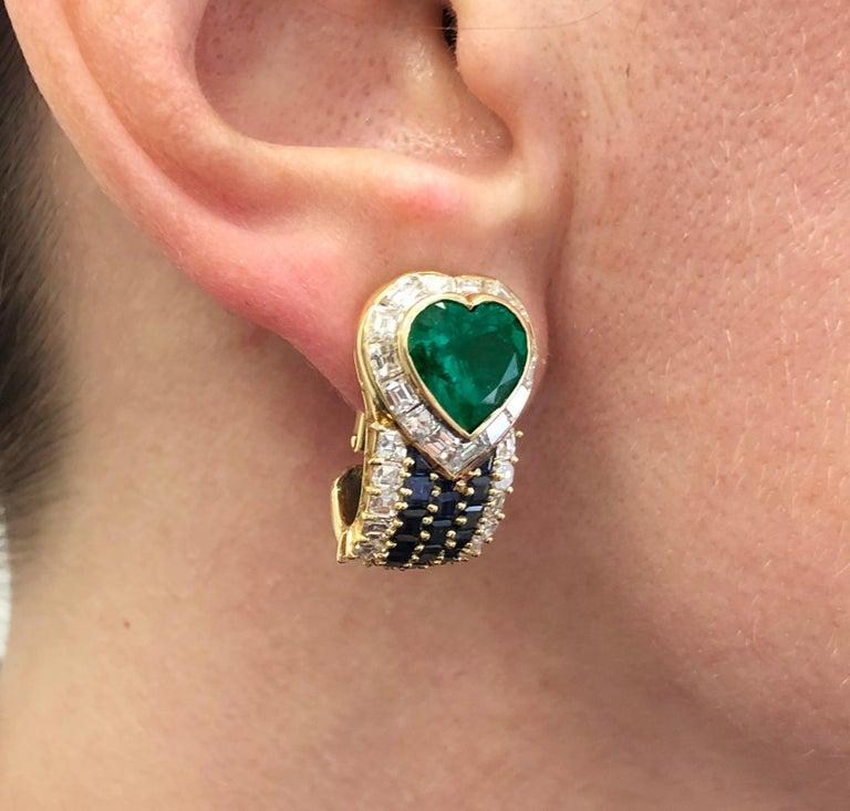 Mixed Cut VAN CLEEF & ARPELS Heart Emerald Sapphire Diamond Earrings For Sale