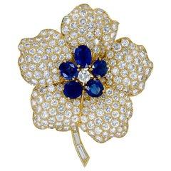 Van Cleef & Arpels Diamond, Sapphire Flower Brooch