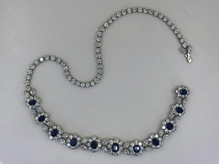 Oval Cut Van Cleef & Arpels Diamond, Sapphire Necklace For Sale