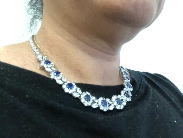 Van Cleef & Arpels Diamond, Sapphire Necklace For Sale 1