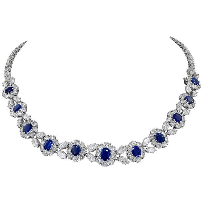Van Cleef & Arpels Diamond, Sapphire Necklace For Sale