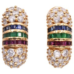 Van Cleef & Arpels Diamond, Sapphire, Ruby and Emerald Hoops