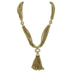 Van Cleef & Arpels Diamond Yellow Gold Sautoir Tassel Necklace