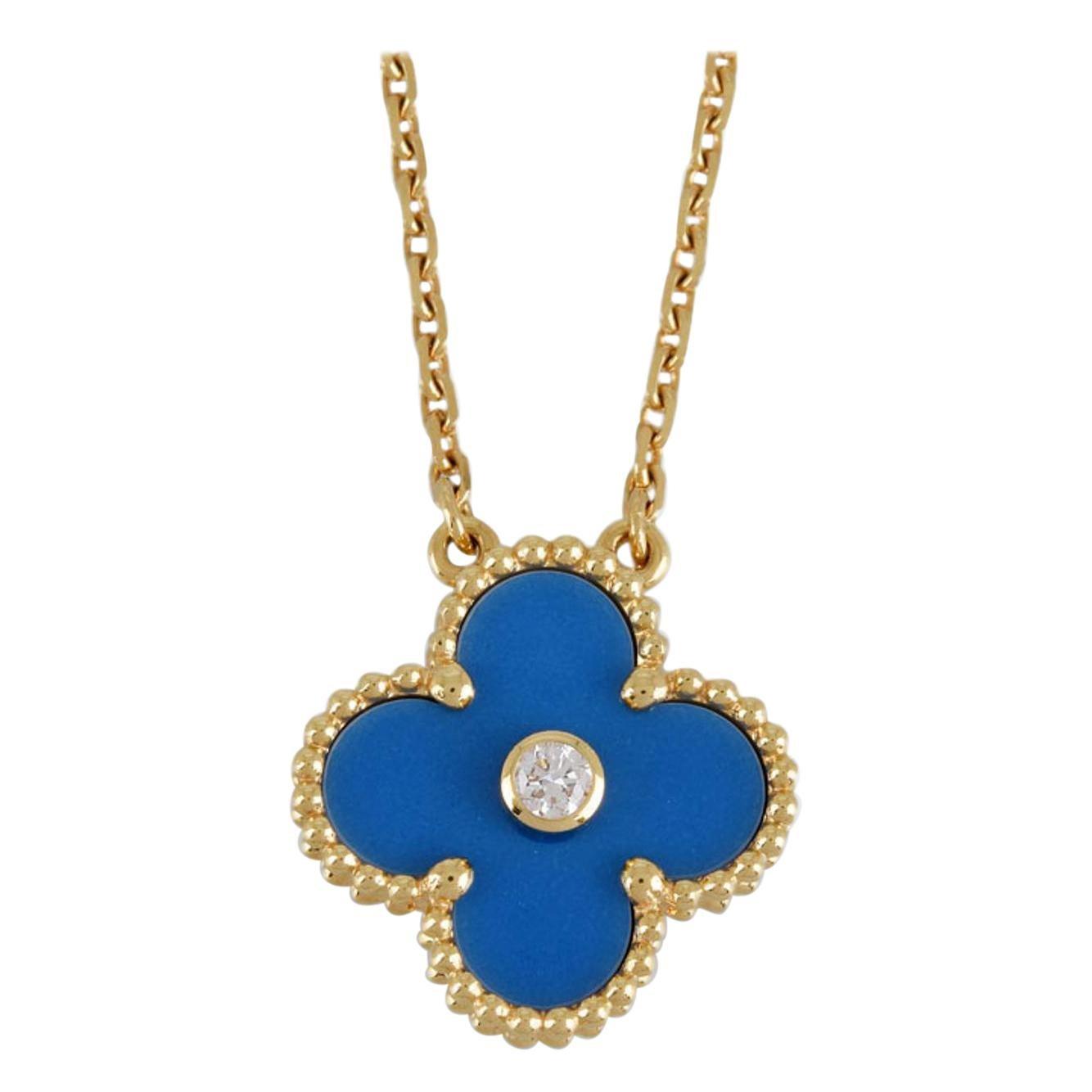 Van Cleef & Arpels Diamond Sèvres Porcelain Limited Edition Alhambra Necklace