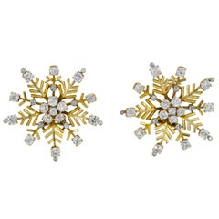 Van Cleef & Arpels Diamond Snowflakes Ear Clips