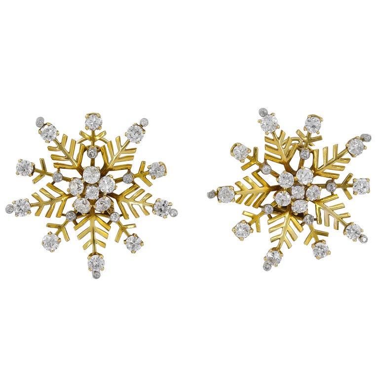 Van Cleef & Arpels Diamond Snowflakes Ear Clips For Sale