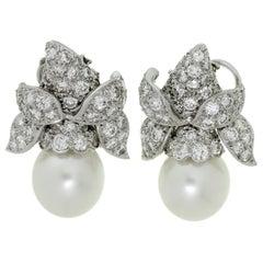 Van Cleef & Arpels Diamond South Sea Pearl Platinum Clip-On Earrings