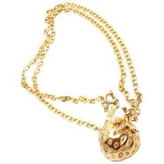 Van Cleef & Arpels Diamond Strawberry Yellow Gold Pendant Necklace