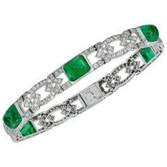 Van Cleef & Arpels Diamond and Sugarloaf Emerald Bracelet