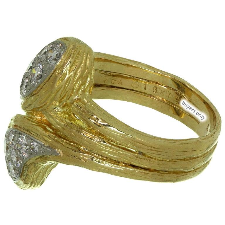 Women's Van Cleef & Arpels Diamond Textured Yellow Gold Ring For Sale