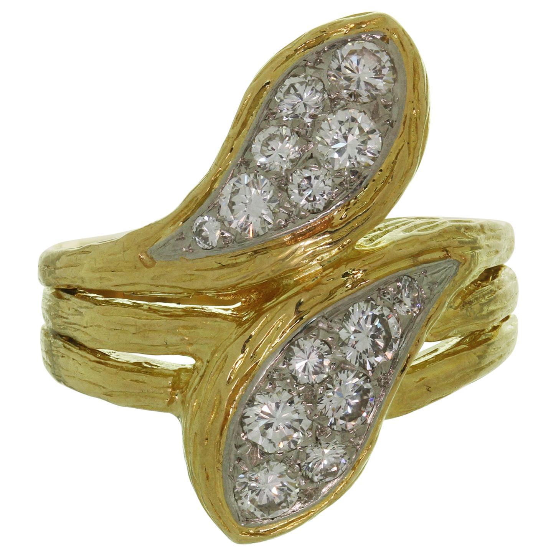 Van Cleef & Arpels Diamond Textured Yellow Gold Ring
