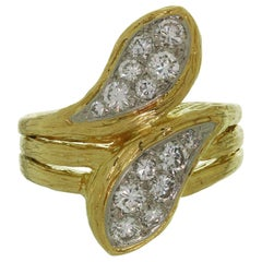 Van Cleef & Arpels Diamond Textured Yellow Gold Ring