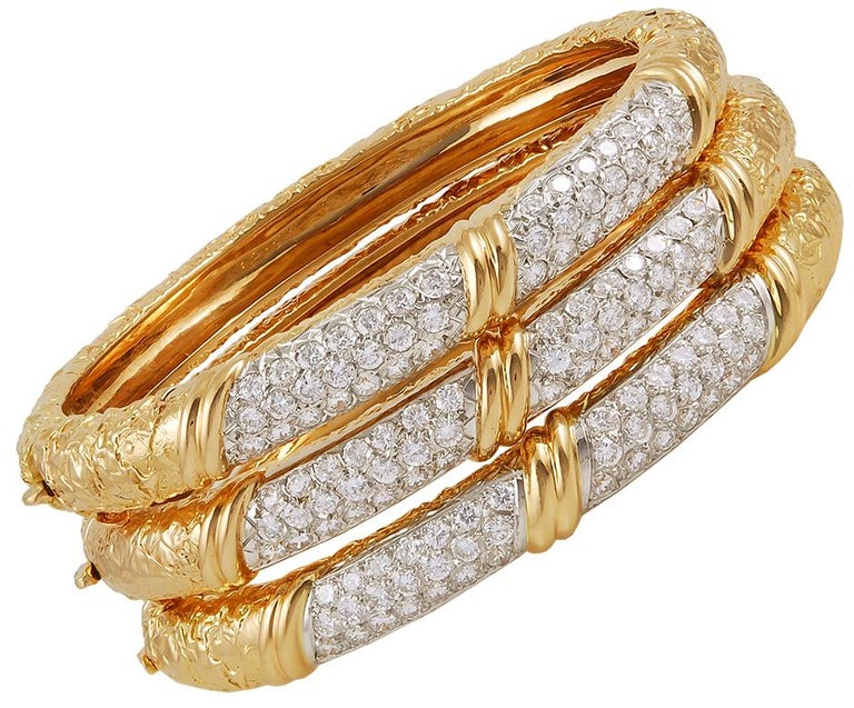 Van Cleef & Arpels Diamond Three Bracelets In Good Condition For Sale In New York, NY
