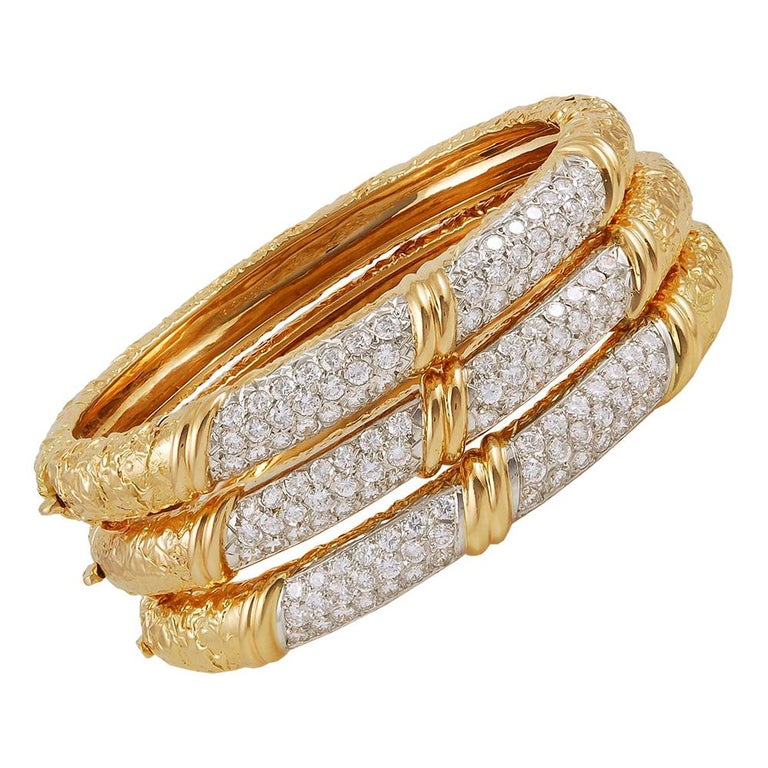 Van Cleef & Arpels Diamond Three Bracelets For Sale