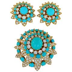 Van Cleef & Arpels Diamond Turquoise Brooch Earrings