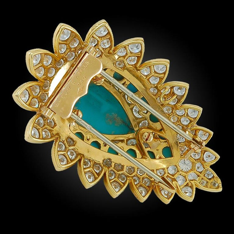 Round Cut Van Cleef & Arpels Diamond, Turquoise Brooch For Sale