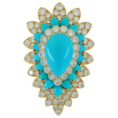 Van Cleef & Arpels Diamond Turquoise Yellow Gold Brooch