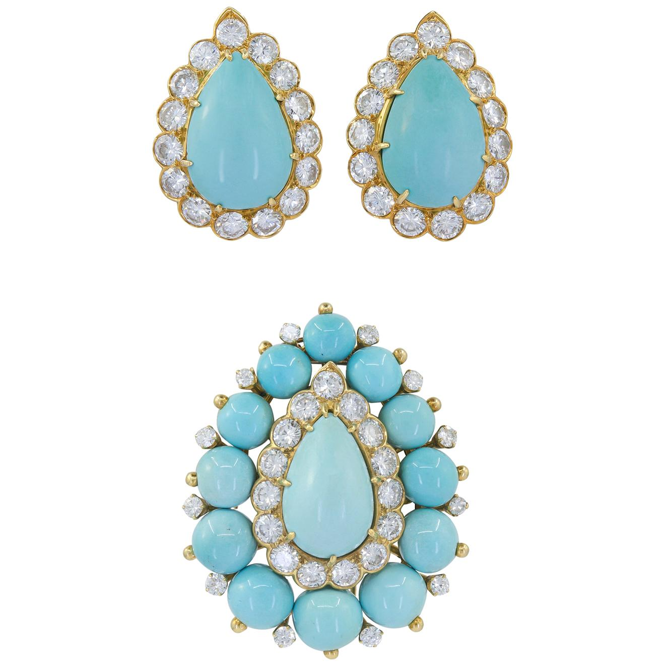 Van Cleef & Arpels Diamond, Turquoise Earrings and Brooch