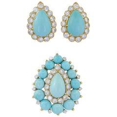 Van Cleef & Arpels Diamond, Turquoise Earrings and Brooch