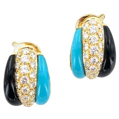 Van Cleef & Arpels Diamond Turquoise Onyx Estate Earrings