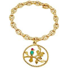 Van Cleef & Arpels Diamond Ruby Turquoise Yellow Gold Bird Charm Bracelet