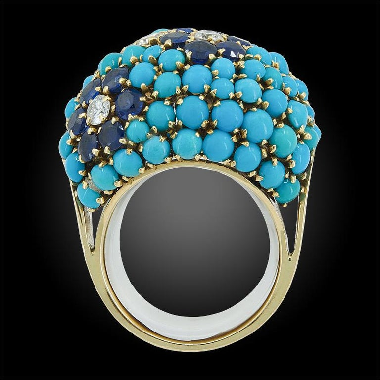Round Cut Van Cleef & Arpels Bagatelle Diamond Turquoise Yellow Gold Bombe Ring For Sale