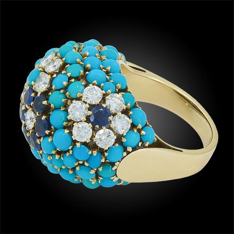 Van Cleef & Arpels Bagatelle Diamond Turquoise Yellow Gold Bombe Ring In Good Condition For Sale In New York, NY